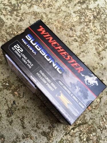 22 LR HP Winchester 42MAX - 42gr - 50ks kompletní náboje 22 LR Winchester® HP 42MAX Product Symbol: 22SUB42U42gr1065 FPS50 ks v baleníProdej na ZP !