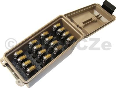 Tactical Magazine Can - TMC1911 kufr na 16 ks zásobníků 1911 - MTM - hnědý Tactical Magazine Can 1911TMC1911 - Dark EarthPlastový stohovatelný box s pořadačem na 16 jednořadých zásobníků pro pistole 1911 a jim rozměrově podobných. Vhodný pro bezpečných transport plných zásobníků a jejich uchování v suchu. Oddělenésektory pro každý kus zabraňují jejich vzájemnému odírání.Skladování zásobníkovým dnem dolů