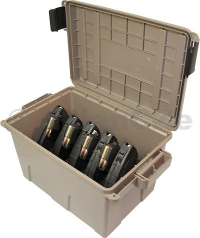 Tactical Magazine Can - TMCAK kufr na 9 ks zásobníků AK-47 - MTM - hnědý MTM Tactical Magazine CanAK-47TMCAKmade in USAITEM: TMCAK - dark earthmasivní plastový box ve světle hnědé barvě s černým držákem a klipy