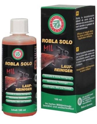 Čistící přípravek na vývrt hlavně - BALLISTOL Robla Solo Mil barrel cleaner 65 ml BALLISTOLČistič hlavní Robla Solo Mil barrel cleaner - 65 mlOsvědčil se také v tvrdém vojenském nasazení a je nepřekonatelný.Robla-Solo byl dále vyvíjen a poté ho nahradil Robla-Solo-MIL. Z důvodů vynikajících testovacích výsledků vědeckého institutu spolkové armády v Německu používají nyní Robla-Solo-MIL dokonce zvláštní jednotky.Robla-Solo-MIL je složen ze speciální kombinace s amoniakem