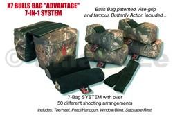 """střelecký vak - BULLSBAG X-7 """"ADVANTAGE"""" (7bags) - Filled & Unfilled autorizovaná distribuce v ČRvelkoobchod / maloobchodX-7 """"7-Bag ADVANTAGE"""" SYSTEM-Tree-Camo w/black suede 10""""ITEM:M00077mi dílná patentovaná sestavastřeleckého vaku -podpěry pro střelbu s dlouhých zbraní"""