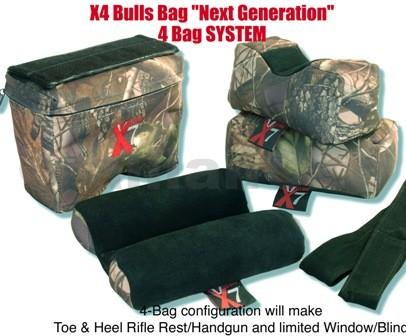 """střelecký vak - BULLSBAG X-4 """"Next Generation"""" (4bags) - Filled & Unfilled autorizovaná distribuce v ČRvelkoobchod / maloobchodX-4 """"4-Bag Next Generation"""" SYSTEM-Tree-Camo w/black suede 10""""ITEM:M00044 dílná patentovaná sestavastřeleckého vaku -podpěry pro střelbu s dlouhých zbraní"""