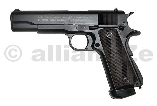 pistole CYBG Colt M1911 A1 celokov (CO2) CYBG Colt M 1911 A1 celokov CO2Základní vlastnosti:- airsoft zbraň v měřítku 1:1- Blow Back systém reálného pohybu závěru a imitace zpětného rázu- hop-up systém- pouzdro závěru z jednoho výlisku- rám zbraně z jednoho výlisku- vnější hlaveň z jednoho výlisku- rozborka shodná s originálem - reálné ovládací prvky- integrovaný zásobník na CO2 bombičky a kuličky reálného vzhledu a nabíjení - realistická pojistka zásobníku - realistický matový povrch rámu zbraně a pouzdra závěruTechnická data:princip: plynovka ráže: BB 6 mmrežim střelby: jednotlivéprovedení: Blow Back hop-up: ano