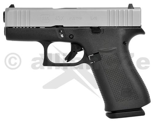 Pistole GLOCK 43X 9mm Luger Silver Slide Glock 43X Silver Slide9mm Luger (9x19)Glock 43X 9mm LugerITEM: 47804Nejnovější pistole GLOCK s jednořadým zásobníkem v ráži 9x19 řady slimline vhodná pro skryté nošení. Novinkou je i závěr ve stříbrné barvě. Sdandardně dodávána v sadě se dvěma zásobníky na 10 nábojů. Ráže 9x19Délka závěru 154 mmVýška 128 mm (se zásobníkem)Šířka 28 mmVzdálenost mezi mířidly 133 mmDélka hlavně 87 mmProfil hlavně pravotočivý hexagonálníDélka závitu hlavně 250 mmKapacita zásobníku (standard) 10 nábojůHmotnost bez zásobníku 465 gHmotnost prázdného zásobníku 64 gHmotnost plného zásobníku 188 gOdpor spouště ~2