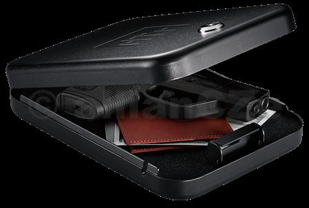 bezpečnostní schránka GunVault NanoVault - NV200 GunVault NanoVault - NV 200 malá (24 x 16 cm) bezpečnostní schránka se zámkem na klíč s úložným měkkým pěnovým prostorem