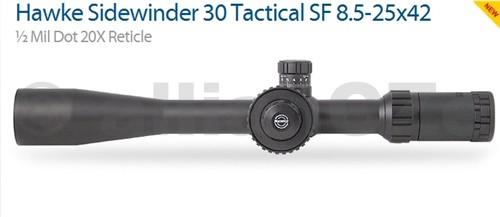 """PUŠKOHLED HAWKE SIDEWINDER 30 8.5-25x42 1/2 Mil Dot 20X Reticle - HK4030 Hawke Sidewinder 30 Tactical SF 8.5-25x42 ½ Mil Dot 20X ReticleHK4030 Dvě barvy podsvícení - červená / zelená Velké boční kolo - 2"""" Large side wheel Coil erector spring provides stability during recoil 30mm mono-tube withstands the heaviest recoil Locking ¼ M.O.A target style turrets Fully multi-coated opticsDodává se s bohatým příslušenstvím"""