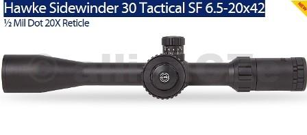 """PUŠKOHLED HAWKE SIDEWINDER 30 6.5-20x42 1/2 Mil Dot 20X Reticle - HK4026 Hawke Sidewinder 30 Tactical SF 6.5-20x42 ½ Mil Dot 20X ReticleHK4026 Dvě barvy podsvícení - červená / zelená Velké boční kolo - 2"""" Large side wheel Coil erector spring provides stability during recoil 30mm mono-tube withstands the heaviest recoil Locking ¼ M.O.A target style turrets Fully multi-coated opticsDodává se s bohatým příslušenstvím"""
