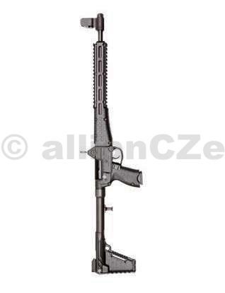 PUŠKA KEL-TEC SUB-2000™ 9mm Luger  KEL-TEC SUB-2000™ PF9B-BLK poloautomatická puška v ráži 9mm Luger se šachtou pro zásobníky GLOCK 17&19 s hmotností do 2kg (nenabitá - bez zásobníku) a s hlavní délky 41 cm. Otočením hlavně směrem nahoru a zpět