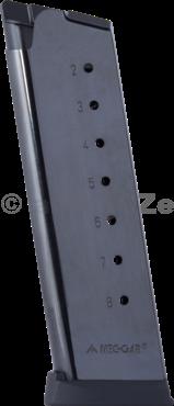 """zásobník MEC-GAR .45 ACP / 1911 """" 8ran - black Mec-Garzásobník jednořadý pro pistole 1911.45ACP - 8ran 1911 .45 8rd w/ Plastic Removable Buttplate & FollowerSku# MGCG4508PF"""