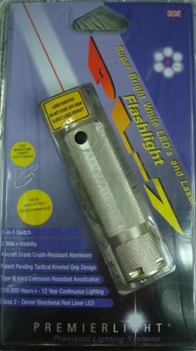 svítilna s laserem PREMIERLIGHT PL-7 LASER korozi-odolná svítilna PREMIERLIGHT PL-7 s laserem.Kombinace 6 bílých SuperBright LED diod s červeným laserovým ukazovátkem v provedení s drážkovaným tělem pro lepší a stabilnější úchop z leteckého hliníku. Baterie a pouzdro v balení.