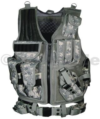 Taktická luxusní vesta UTG Tactical Vest - Army Digital Deluxe Tactical Vest with Quick Draw Holster