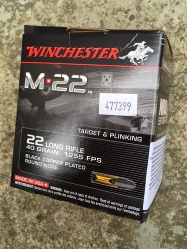 22 LR Winchester M22 40gr - 500ks kompletní náboje 22 LR Winchester® M22 Product Symbol: S22LRTBlack Copper Plated Round Nose Bullet Clean Burning Powder Non-Corrosive PrimingBullet Weight: 40