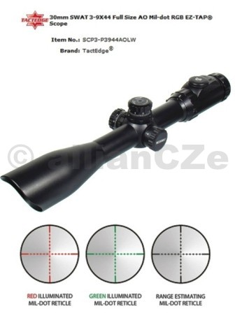 PUŠKOHLED ACCUSHOT® 30 3-9x44 AO SWAT Mil-dot TACTEDGE30 mm SWAT 3-9X44 AO Full Size Mil-dot RGB EZ-TAP ®(SCP3-P3944AOLW)