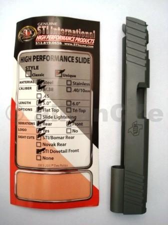 """závěr ocelový STI Unique 9mm/.38 - 5"""" Flat Top + cuts - pro puškaře závěr pistolový originální díl STISlide 5.0"""""""