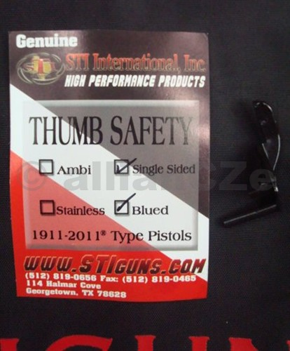 pojistka palcová jednostranná STI THUMB SAFETY Single / blued 1911 - 2011 STI Single sided Thumb SafetiesPalcová pojistka