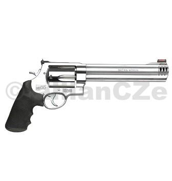 "Revolver S&W 500™ .500 S&W Magnum® Model: S&W 500™Caliber: .500 S&W Magnum®Capacity: 5 RoundsBarrel Length: 8.38"" / 21.3 cmFront Sight: Light Gathering HI-VIZ® Red DotRear Sight: AdjustableGrip: SyntheticAction: Single/Double ActionFrame: Extra LargeFrame Size: Extra Large - Exposed HammerFinish: Satin StainlessOverall Length: 15"" / 38.1 cmMaterial: Stainless Steel FrameStainless Steel CylinderWeight Empty: 72.5 oz.Purpose: Handgun Huntingitem: 163501HIVIZ® sights"