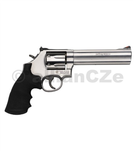 """Revolver S&W 686 .357 Magnum Model: 686 PlusCaliber: .357 Magnum®Capacity: 7 RoundsBarrel Length: 6"""" / 15.2 cmFront Sight: Red RampRear Sight: Adjustable White OutlineGrip: SyntheticAction: Single/Double ActionFrame Size: Medium - Exposed HammerFinish: Satin StainlessOverall Length: 11.94"""" / 30.3 cmMaterial: Stainless Steel FrameStainless Steel CylinderWeight Empty: 43.9 oz / 1"""