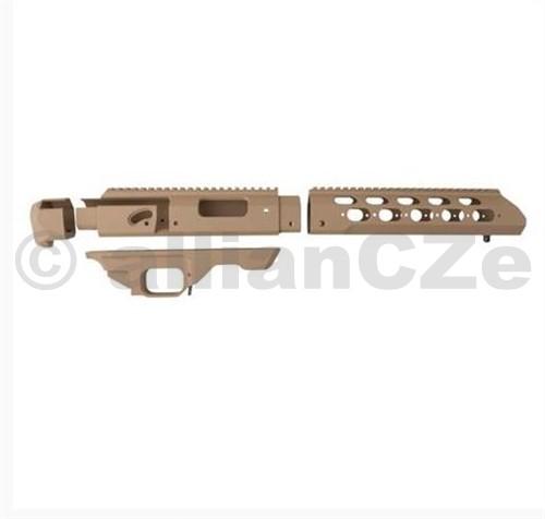 Šasí MDT TAC21 Chassis - Remington 700 SA - Flat Dark Earth TAC21 Chassis for Remington 700 Short Actionbarva - Flat Dark Earth ITEM: 204555 Taktické šasí na Vaši zbraň je kombinací specializovaného designu s vynikající ergonomií pro lepší střeleckou přesnost. Vaše původní zbraň bude v novém kabátě o jednu úroveň lepší