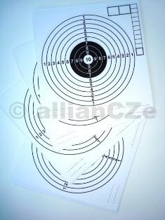 Terče - klasické 14x14cm Papírové terče klasické- zejména pro vzduchovky. Rozměr standardní 14x14cm (resp. šířka 14 cm x výška 14