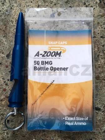 Otevírák zátek - přívěsek ve tvaru náboje .50 BMG - A-Zoom (ITEM 1140) Otevírák zátek /přívěsek ve tvaru náboje .50 BMG A-Zoom 50BMG bottle openerITEM: 1140Přívěsek ve tvaru náboje 50 BMG v rozměru 1:1 v modré barvě