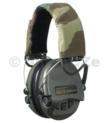sluchátka střelecká elektronická MSA Sordin Supreme Pro-X - Camo špičková střelecká elektronická sluchátkaMSA Sordin Supreme Pro-X (zelené+camo)Hmotnost (bez baterií)  330 gBaterie  2x AAA (baterie jsou součástí balení)Životnost baterie  600 hodinZkoušeno dle  EN352-1