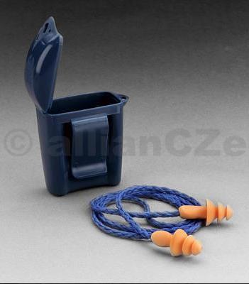 špunty do uší - 3M™ Ear Plugs oranžové špunty do uší na šňůrce nejen pro střelce od 3M v praktické modré krabičce s klipsnou.Zátky ze speciální PVC pěny
